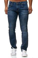 Pantalones vaqueros azul oscuro para hombres con lavado de piedras con stretch