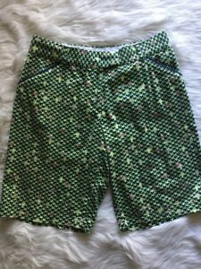 Peter Millar Womens Sz 8 Bermuda  Golf Shorts Blue Green Print Cotton Spandex