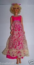 Vintage 1966 Francie Barbie Doll Dressed Hot Pink Lace Gown