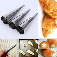 3Pcs New Stainless Steel Spiral Baked Croissants DIY Horn Tube Baking Cake Mold