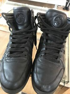 Gucci Mens Size 8.5 Black Leather Boots / Trainers With Logo
