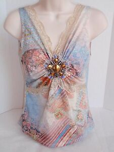 Ladies Boho Chic Brand Exotic Floral Camisole Tank Top Ornate Chest Medallion S