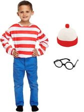 Where's Wally Wenda Red White Striped Top Hat Glasses Fancy Dress Costume Small