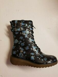 Womens Cipriata flower biker boots black blue lace up faux leather wedge L51