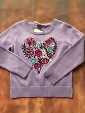 Gymboree Girls Size 4 Purple Embroidered Heart Nwts Back To Blooms