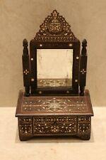 Antique Damask dressings mirror Compact size inlaid silver & mother of pearl 100