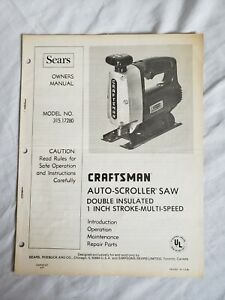SEARS CRAFTSMAN AUTO SCROLLER SAW  VINTAGE OWNERS MANUAL  315.17280