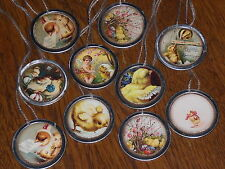 10 Primitive Vintage Easter Baby Chicks Metal Rim Hang Tags Mini Tree Ornaments