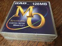 KAO Magneto Optical Disks 128MB Rewritable (Three Disks) NEW