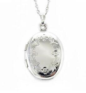 14K White Gold Locket Floral Engraved Detail Oval Keepsake locket 1 Inch Drop