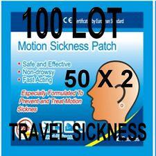 100  ANTI TRAVEL SICKNESS PATCHS  HELPS PREVENT SEA  CAR  PLANE  100% DRUG FREE