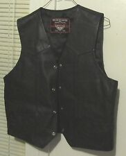 Interstate for Long Haul Leather Black USA Flag Biker Motorcycle Vest XL Lined