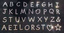 small Alphabet letter CLEAR iron-on rhinestone stone diamante applique transfer