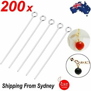 200pcs Eye Pins Silver Plated Alloy 50mm long 0.7mm dia Jewellery Making Earring