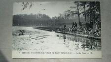 CPA 77. Chasse à courre en forêt de Fontainebleau. Le bat l'eau. 1922.