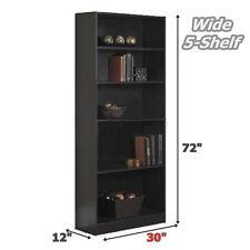 Bookcase Wide 5 Shelf Bookshelf Black Adjustable Wood Storage Shelving Book