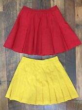 Lot of 2 Lilys of Beverly Hills Tennis Skirt Yellow Pink Red Pleated Preppy 4 XS