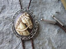 Horse Hand Painted Cameo Unisex Bolo - Bola Tie -Necklace -Choker - Cream, Brown