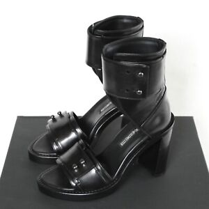 ANN DEMEULEMEESTER chunky black leather high heel sandal shoes cuff boots 36 NEW