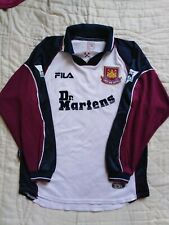 VINTAGE ORIGINAL WEST HAM LONG SLEEVE 1999 FOOTBALL SHIRT TOP JERSEY DR MARTENS
