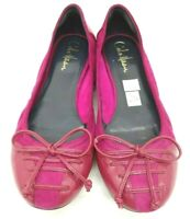 Cole Haan Air Magenta Leather Bow Casual Slip On Ballet Flats Shoes Women's 7 B