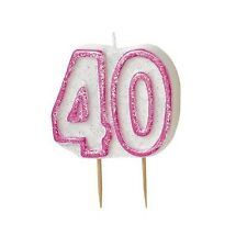 Pink Glitz Number 40 Candle 40th Birthday Cake Candles Party Decorations