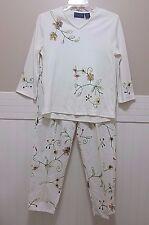 M Vintage 1980s Mp Ladies Top & Pants Set Embroidered Floral Cotton Shirt Slacks
