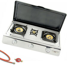 Acero Inox. Cocina de Gas 3 Llama con Tapa 10 Kw Cocinilla de Camping Con