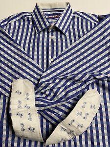 Robert Graham Men's Button Down Long Sleeve Shirt 43/17 Large/XL Blue Striped