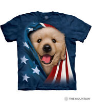 The Mountain Adult Unisex T-Shirt Patriotic Golden Pup Blue Tee S-M-L-XL-3X  NWT