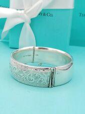 "Vintage Tiffany & Co Wide Silver Bracelet Bangle 7""/Paisley Engraving Rare 1920s"