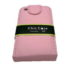 Funda Rosa de Cuero en Piel para Telefono Movil iPhone 3G de Apple Carcasa 926bR