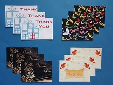 Thank You Cards Thankyou Postcards 4 Designs Pack of 12 Cards & White Envelopes