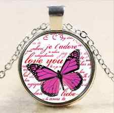 Glass Chain Pendant Necklace#1 Vintage Butterfly Cabochon Tibet silver