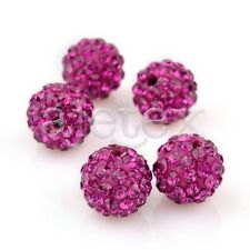 5/20pcs Crystal Disco Ball Bead Clay Pave Rhinestone Bracelet 6/8/10/12/16/20mm