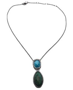 "ALEXIS BITTAR Turquoise & Crystal 16""-19"" Adjustable Drop Necklace Vintage"