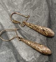 Antique Victorian Style 9ct Yellow Gold Drop Earrings Dangle Ear Pendants