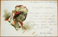 Art Nouveau 1900 Postcard: Arabien/Arabian Woman - Color Litho