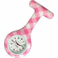 NEW FIRST HAND HEALTHCARE THERAPIST NURSE PINK WHITE PLAID ROUND SILICONE WATCH