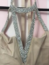 Charlotte Russe - NWT Nude Bodycon Halter Dress With Sparky Neckline - Size L