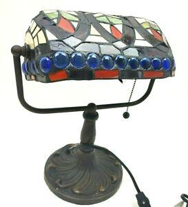 "Indoor 1-light Warehouse of Tiffany KS20+MB50 12"" Bronze Banker Desk Lamp Brown"