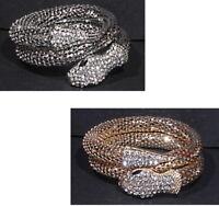 Damen Schlangen Armband Silber/Gold Zirkonia Klar Kristall Ketten Armreif Spange
