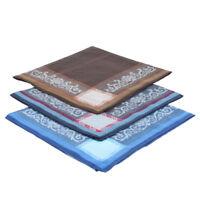 3Packs 100% Cotton Men's Square Handkerchiefs Classic Striped Pattern Hanky