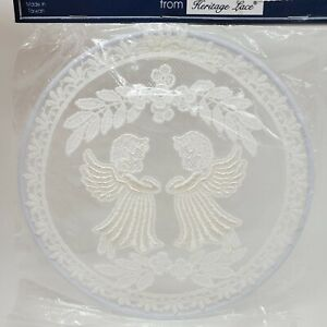 Heritage Lace Accents Handcrafted Round Angels Window Picture Christmas New Vtg