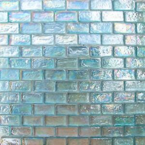 1x2 Aqua Blue Iridescent Brick Glass Mosaic For Wall and Pool Tile
