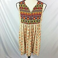 Umgee Womens Tunic Top M Beige Red Floral Aztec Sleeveless Babydoll Tank