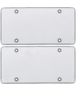 2 CLEAR FLAT LICENSE PLATE COVER BUG SHIELD PLASTIC PROTECTOR FOR CAR /AUTO TAG