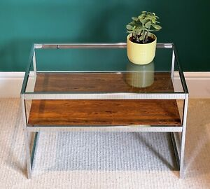 MDA Merrow Design Associates Howard Miller Glass Rosewood Chrome Coffee Table