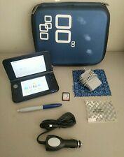 Nintendo 3DS XL Blue and Black Bundle w/ Case, Chargers, SD Card - Read Desc