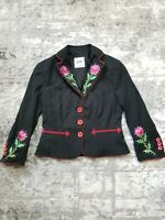 Moschino Cheap and Chic Red Black Embroidered Rose Blazer Jacket Coat USA 4 IT 8